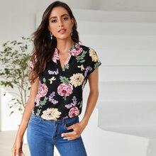 Bluse mit eingekerbtem Kragen und Blumen Muster