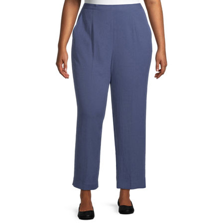 Alfred Dunner-Plus Short Palo Alto Womens Straight Flat Front Pant, 16w , Blue