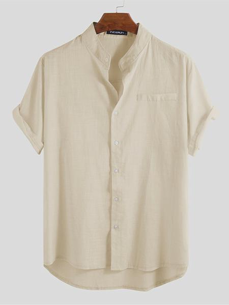 Yoins INCERUN Men New Pocket Front Short Sleeve Casual Cotton Linen Shirt