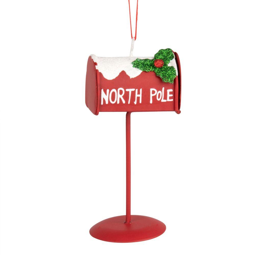 Weihnachtliche Haengedeko, Briefkasten aus Metall, rot