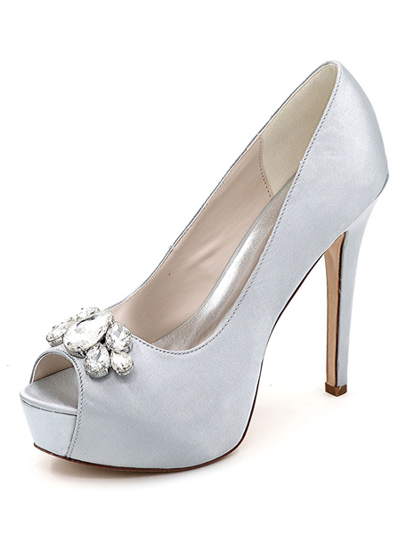Milanoo Silver Wedding Shoes Platform Peep Toe Rhinestone Slip On High Heel Bridal Shoes