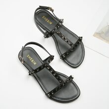Spiked Decor Slingback Sandals
