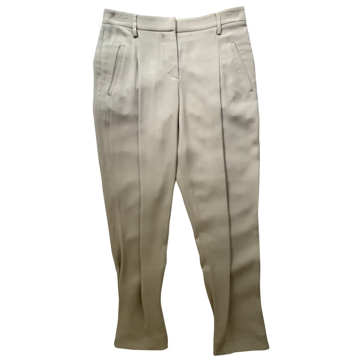 Brunello Cucinelli \N Beige Silk Trousers for Women 40 IT