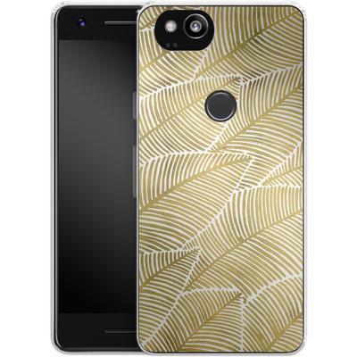 Google Pixel 2 Silikon Handyhuelle - Tropical Leaves Gold von Cat Coquillette