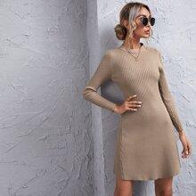 Strick einfarbiges Pulloverkleid