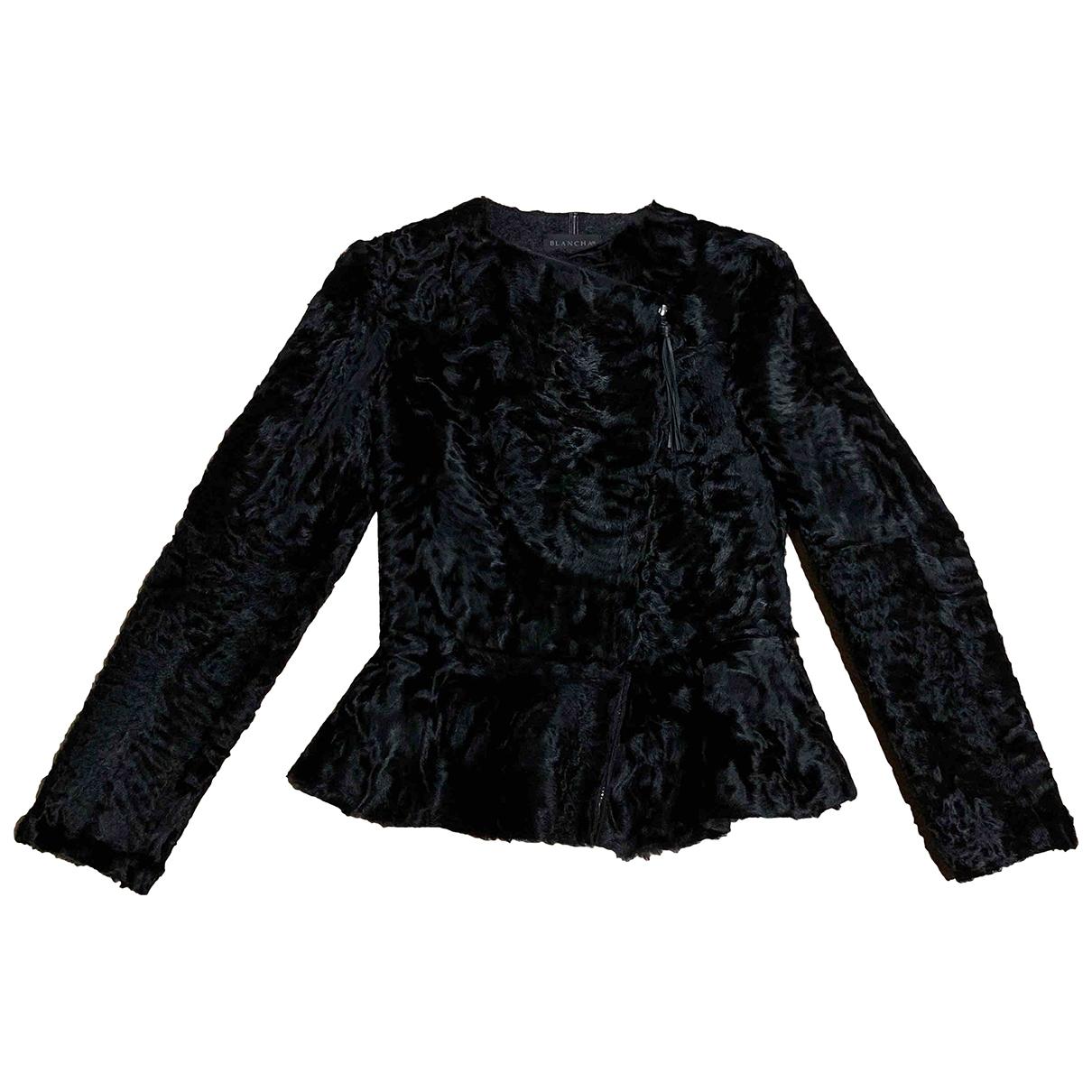 Blancha - Veste   pour femme en astrakan - noir