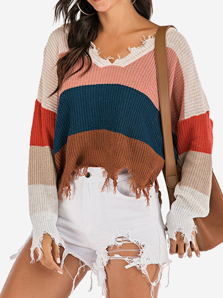 Contrast Color Loose Long-sleeved Pullover Sweater