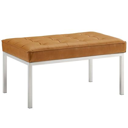 Loft Collection EEI-3400-SLV-TAN 34 Bench with Silver Stainless Steel Legs  Dense Foam Padded Cushion  Non-Marking Foot Caps and Faux Leather