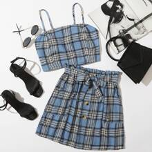Plaid Cami & Belted Button Front Skirt
