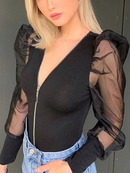 Milanoo Body de manga larga con cremallera negra y cuello en V Poliester sexy Top de mujer