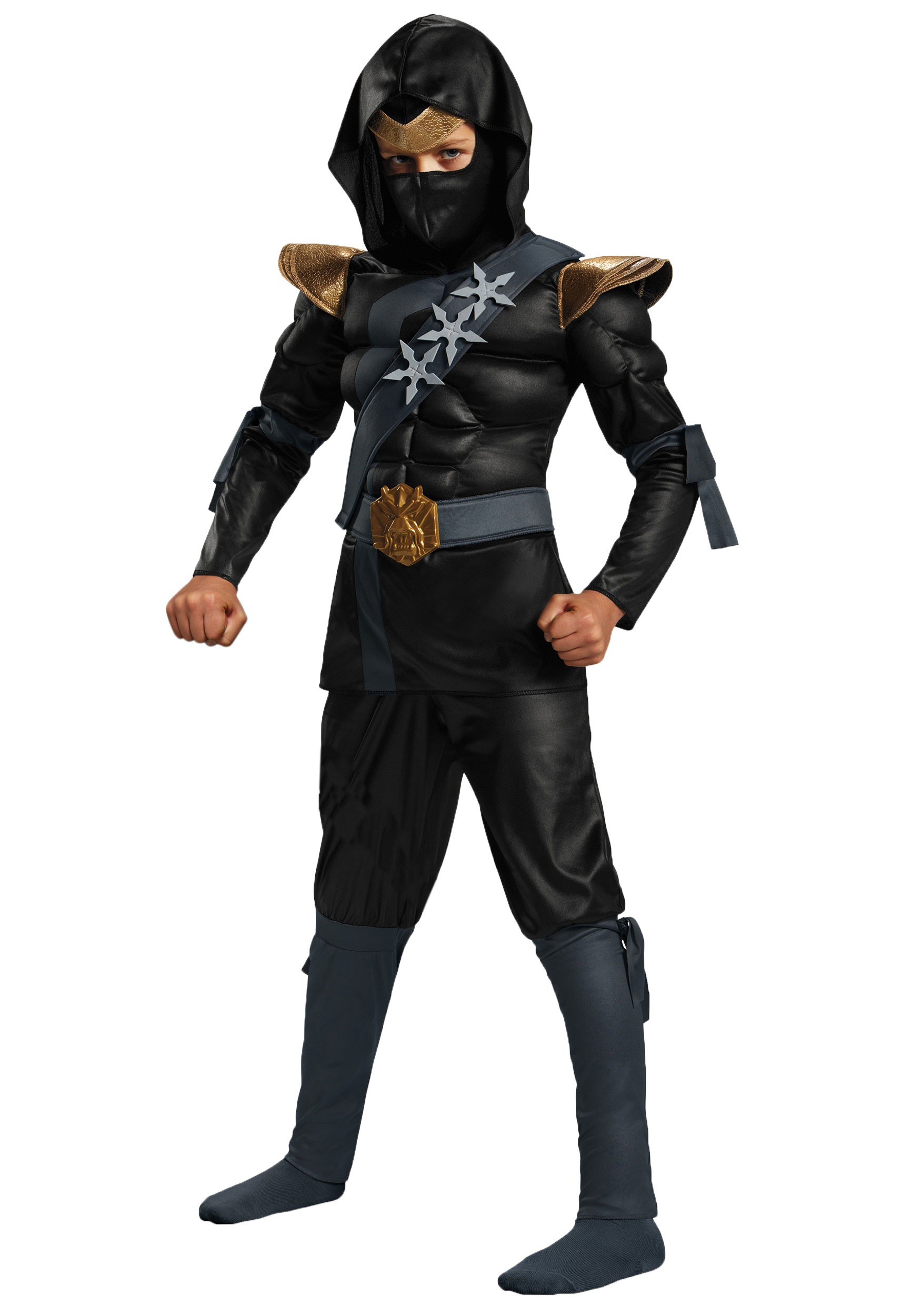 Black Ninja Classic Boys Muscle Costume
