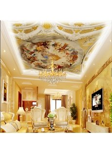 3D Yellow Men Gathering Baroque Pattern PVC Waterproof Sturdy Eco-friendly Self-Adhesive Ceiling Murals