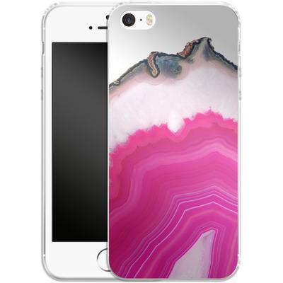 Apple iPhone 5 Silikon Handyhuelle - Pink Agate Slice von Emanuela Carratoni