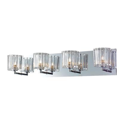 BV4004-0-15 Sprocket 4 Light Vanity in Crystal Glass / Chrome