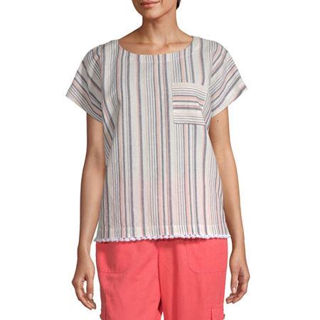 Liz Claiborne Womens Round Neck Short Sleeve Faux Linen Blouse, Small , Beige