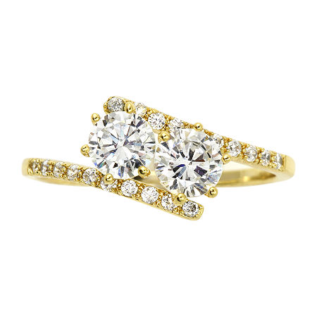 Sparkle Allure Cubic Zirconia 14K Gold Over Brass Cocktail Ring, 7 , No Color Family