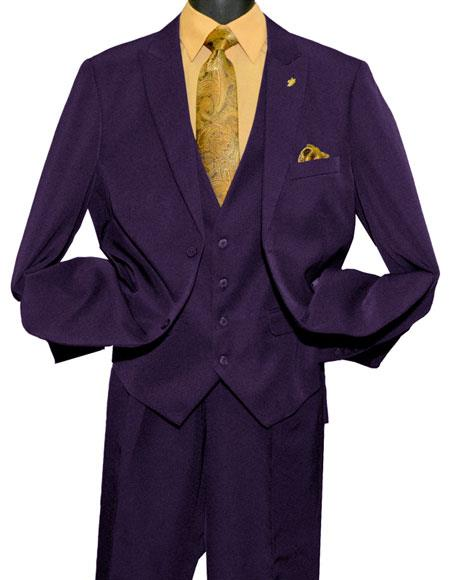 Falcone MenÕs Fashion Purple 2 Button Single Breasted Peak Vested Suit