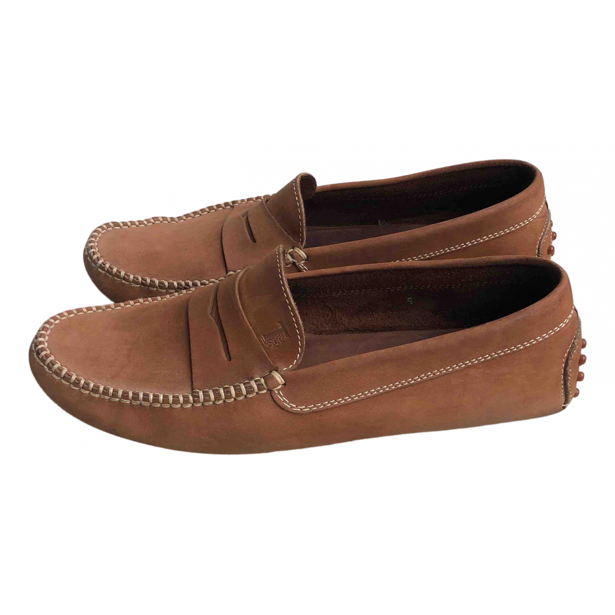 Tod's Gommino Camel Suede Flats for Men 9 US