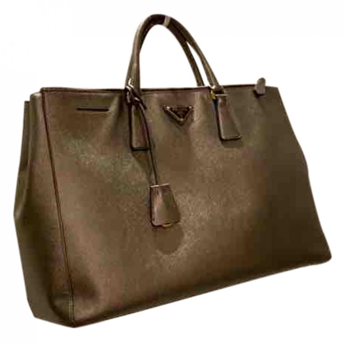 Prada - Sac a main Galleria pour femme en cuir - dore