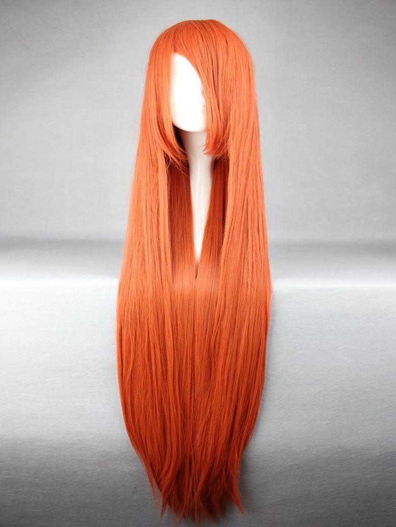 Ericdress Soryu Asuka Langley Hairstyle Long Straight Orange Synthetic Cosplay Wig 30 Inches