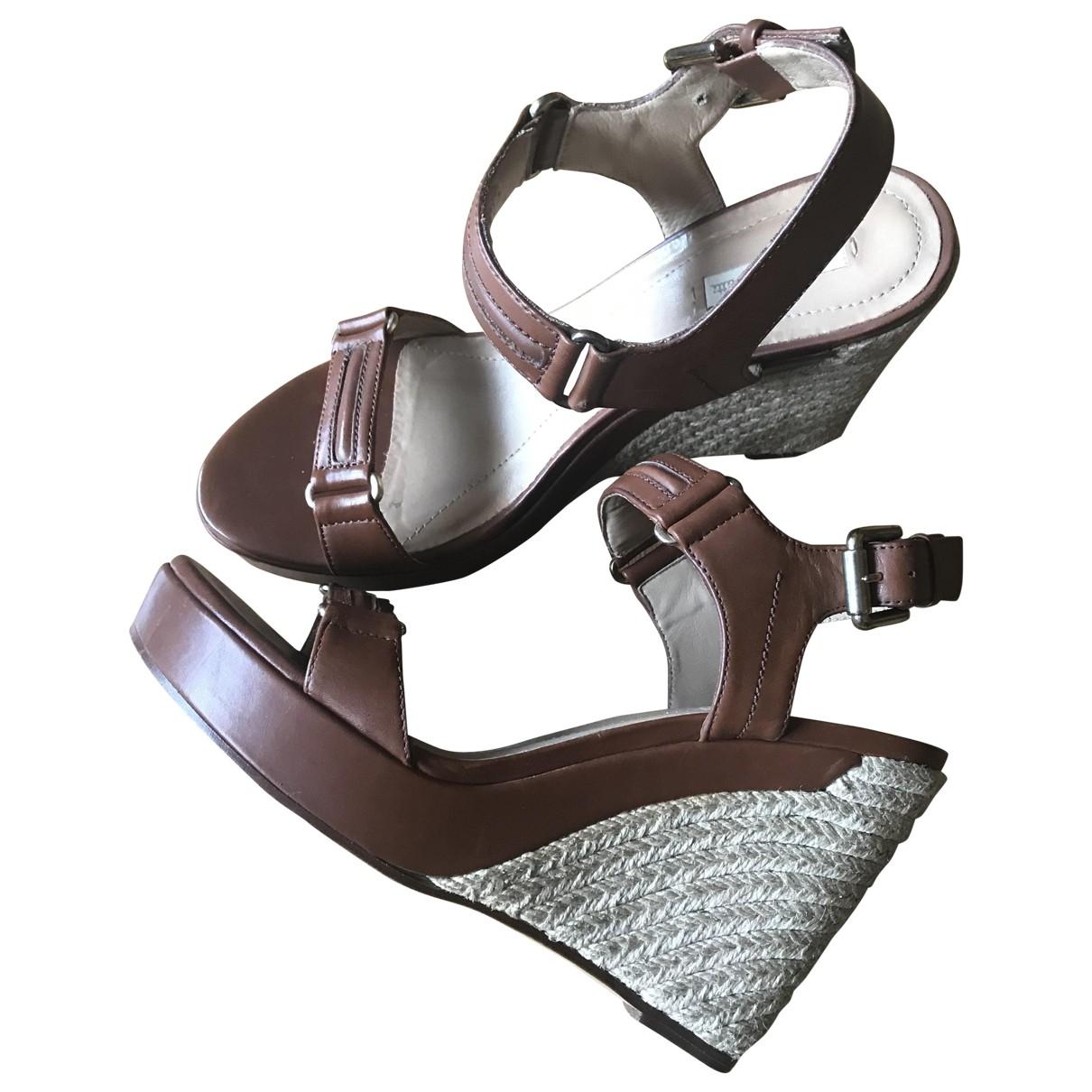 Massimo Dutti - Sandales   pour femme en cuir - marron