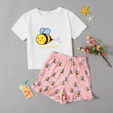 Girls Bee and Letter Print Top & Ruffle Hem Shorts PJ Set