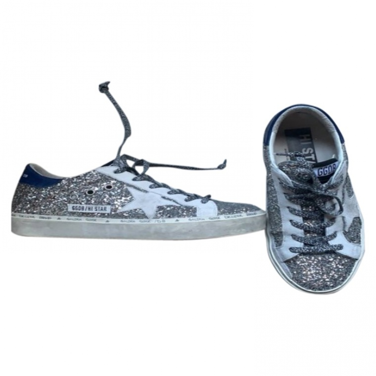 Golden Goose Hi Star Sneakers in  Silber Mit Pailletten
