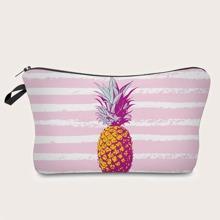 Makeup Tasche mit Ananas Muster und Streifen