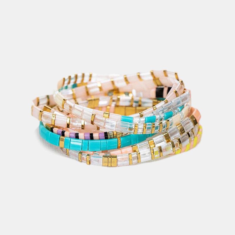 Bohemian Handmade Woven Tila Beaded Bracelet Irregular Beaded Bracelet Ethnic Jewelry