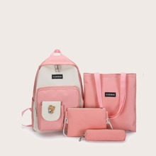 4pcs Two Tone Backpack Set