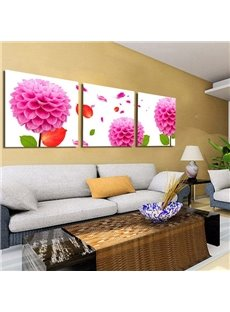 Pink Flowers 3-Piece Canvas Framed Wall Prints
