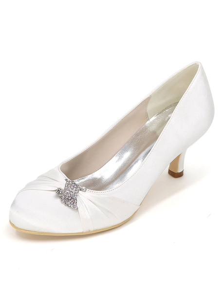 Milanoo Silver Wedding Shoes Kitten Heel Pleated Rhinestone Slip-on Bridal Shoes