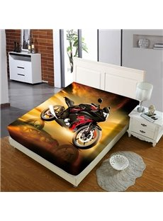 Cool Red Motorcycle Reactive Printing 1-Piece Polyester Bed Cover / Mattress Cover