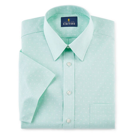 Stafford Mens Short Sleeve Travel Easy-Care Broadcloth Stretch Dress Shirt, 16 , Green