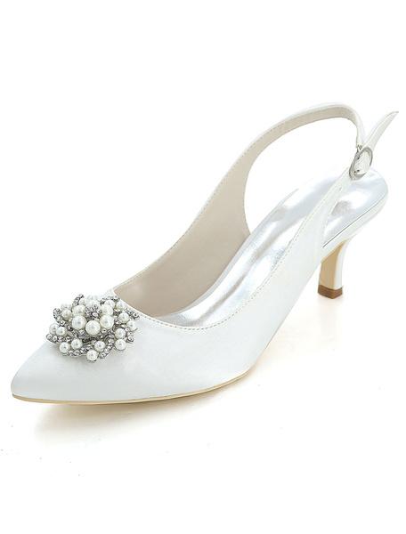 Milanoo Zapatos de novia de saten 6cm Zapatos de Fiesta Zapatos blanco  de tacon de kitten Zapatos de boda de puntera puntiaguada con perlas