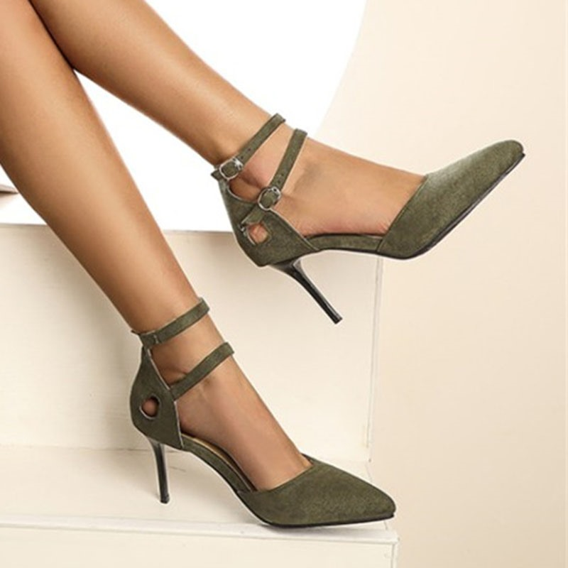 Ericdress Pointed Toe Buckle 8cm Thin Shoes