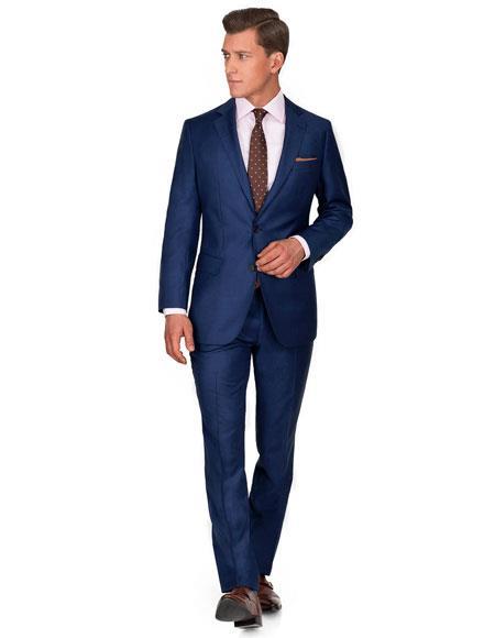 Mens Blue Cobalt 2 Button Wedding or business Midnight blue Suit