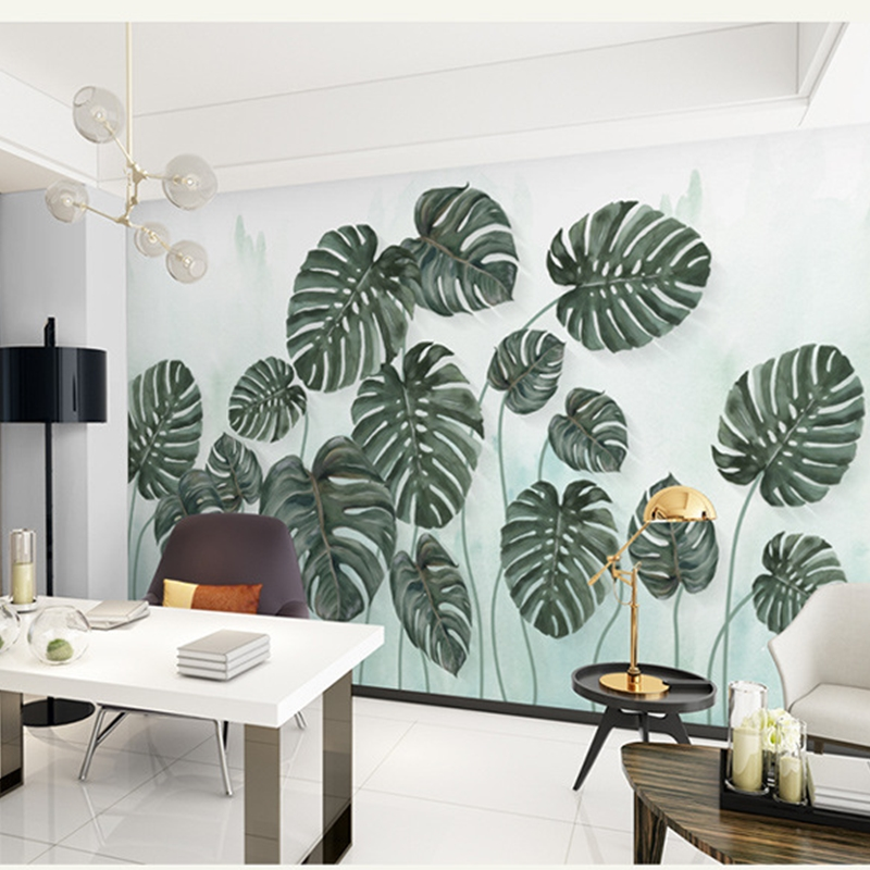 Waterproof Environment Friendly Non-woven Fabrics Green Leaf 3D Wall Murals/Wallpaper