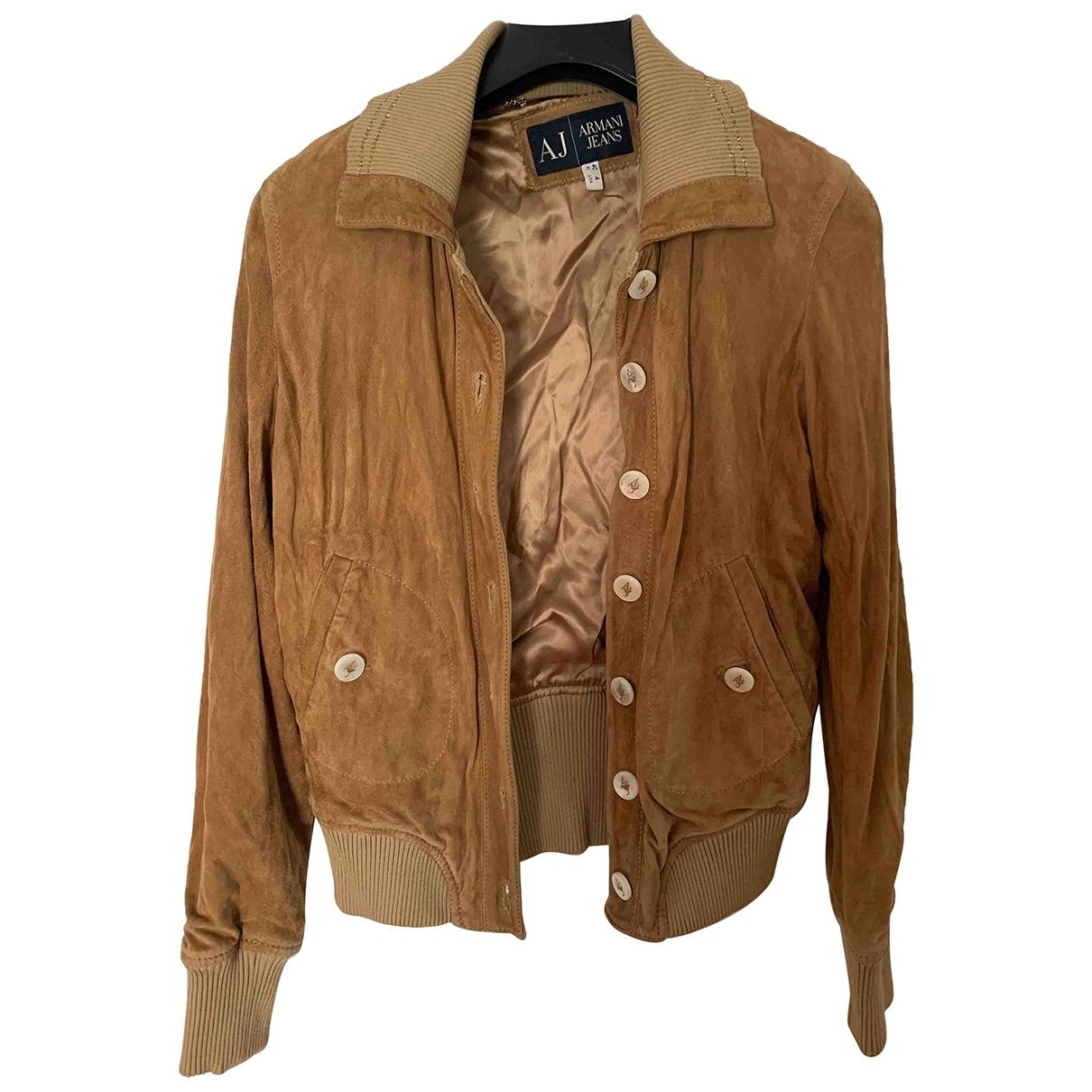 Armani Jeans \N Jacke in  Kamel Veloursleder