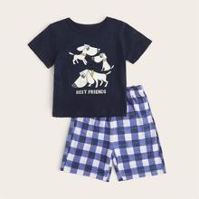 Kleinkind Jungen Schlafanzug Set mit Hund & Buchstaben Grafik und Karo Muster