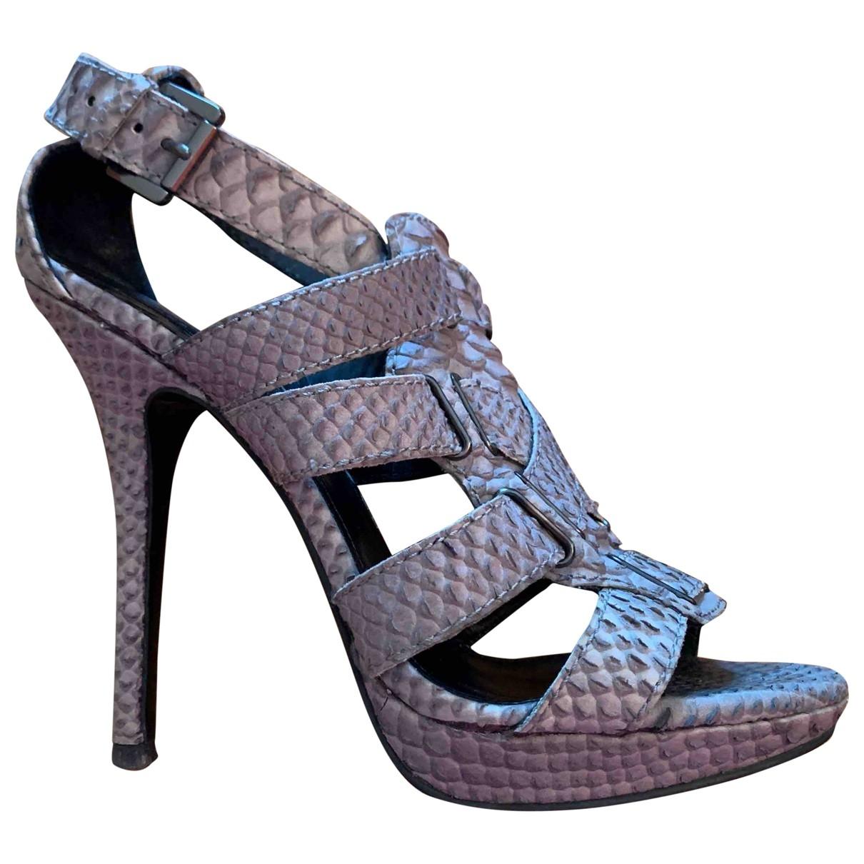 Zara \N Grey Patent leather Sandals for Women 40 EU
