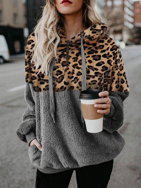 Milanoo Women Velvet Hoodie Black Long Sleeves Drawstring Leopard Print Hooded Sweatshirt