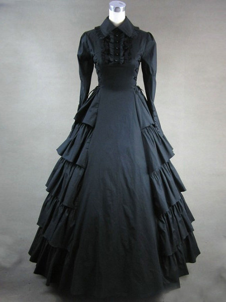 Milanoo Disfraz Halloween Disfraz victoriano negro mangas largas volantes Halloween