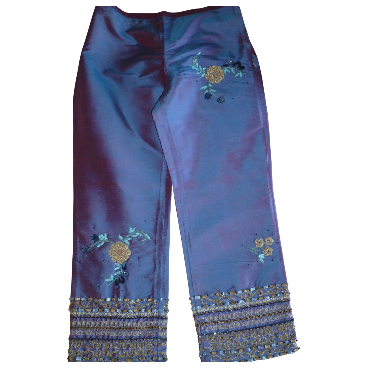 Non Signé / Unsigned \N Multicolour Silk Trousers for Women 36 FR