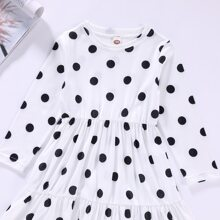 Toddler Girls Polka Dot Print Ruffle Hem Tee With Pants