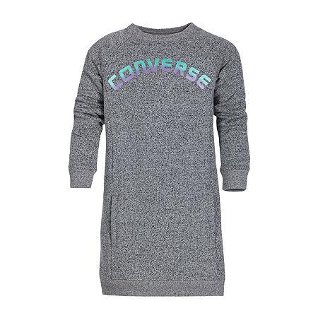 Converse Big Girls Long Sleeve Shirt Dress, Medium , Gray