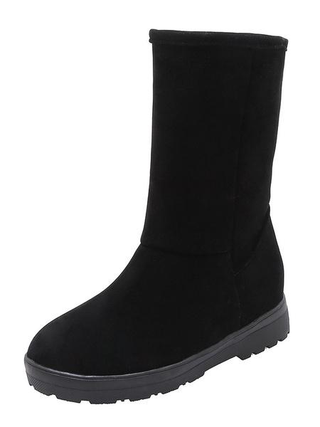 Milanoo Womens Mid Calf Winter Boots Snow Boots