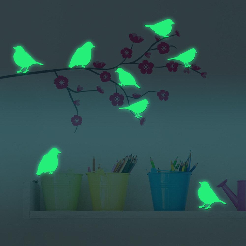 8PCS Fluorescent Glow Birds Wall Sticker Home Bedroom Decor Luminous Stickers
