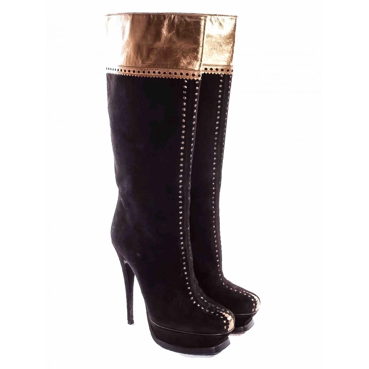 Yves Saint Laurent \N Black Suede Boots for Women 37.5 EU