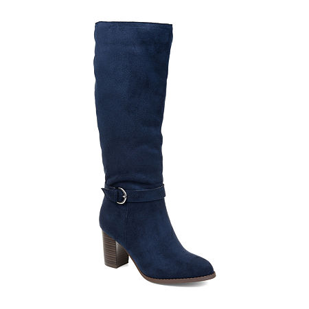 Journee Collection Womens Joelle Dress Stacked Heel Zip Boots, 9 Medium, Blue
